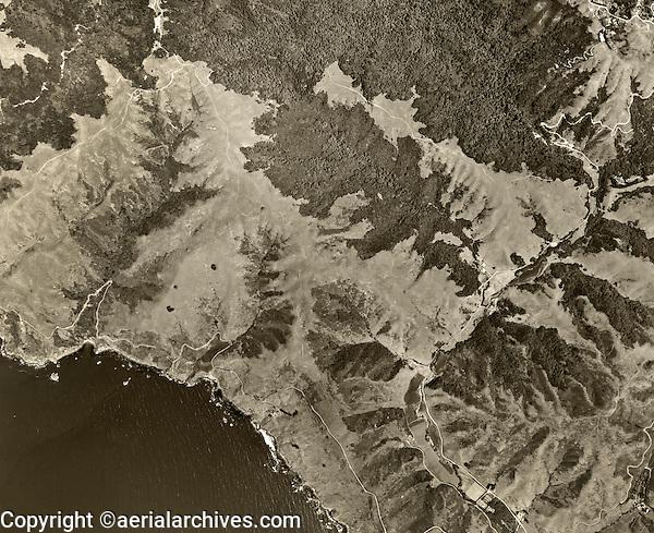 historical aerial photograph Muir Woods, western Marin county, California, 1952