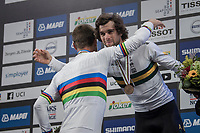 Peter Sagan (SVK/Bora-Hansgrohe) crowns himself World Champion for the 3rd (successive) time and congratulates other podium-regular Michael Matthews (AUS/Sunweb) who finished 3rd today<br /> <br /> Men Elite Road Race<br /> <br /> UCI 2017 Road World Championships - Bergen/Norway
