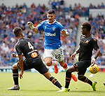14.07.2019: Rangers v Marseille: Jordan Jones with Boubacar Kamara and Bouna Sarr