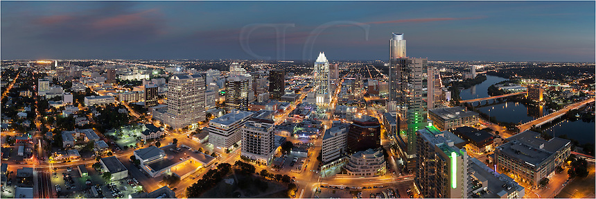 The Austonian is the tallest building in Austin, Texas. In this panorama, you can see from the southern end (Lady Bird Lake) to the northern end ( Texas State Capitol and the UT Tower ). This photograph was captured from the 360 Condos on the west side of downtown.