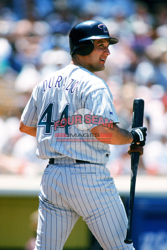 Erubiel Durazo of the Arizona Diamondbacks waits on deck during a 1999 season Major League Baseball game against the Los Angeles Dodgers at Dodger Stadium in Los Angeles, California. (Larry Goren/Four Seam Images)