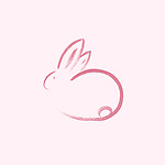 Cute pink bunny rabbit, oriental Zen style illustration, Sumi-e ink painting based artistic design on light pink background