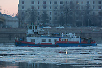 Ice breaker ship crushes floating ice on river Danube in Budapest, Hungary on January 11, 2017. ATTILA VOLGYI