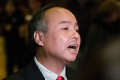 Son Masayoshi, CEO and founder of SoftBank, speaks to the press in the lobby of Trump Tower following his meeting with President-elect Donald Trump, in New York, NY, USA on December 6, 2016. (Photo by Albin Lohr-Jones)<br /> Credit: Albin Lohr-Jones / Pool via CNP