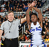 Jacori Teemer of Long Beach raises his arms after his victory by major decision over Matt Swanson of Lynbrook at 132 pounds in the Nassau County Division I varsity wrestling finals at Hofstra University on Sunday, Feb. 12, 2017.