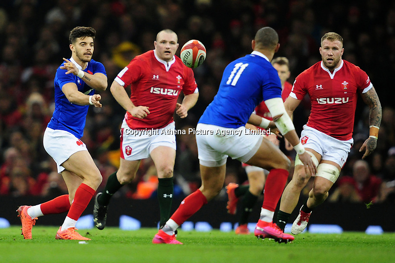 Romain Ntamack of France in action during the Guinness Six Nations Championship Round 3 match between Wales and France at the Principality Stadium in Cardiff, Wales, UK. Saturday 22 February 2020