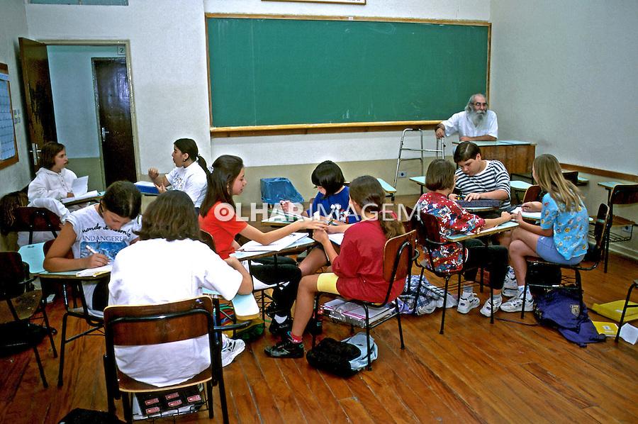 Sala de aula do Colégio Equipe em São Paulo. 1996. Foto de Juca Martins.