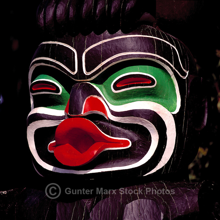 Close Up Detail of Dzoonokwa (Wild Woman of the Woods) - a Kwakwaka'wakw (Kwakiutl) Totem Pole, called Ga'akstalas, at Brockton Point in Stanley Park, Vancouver, British Columbia, Canada
