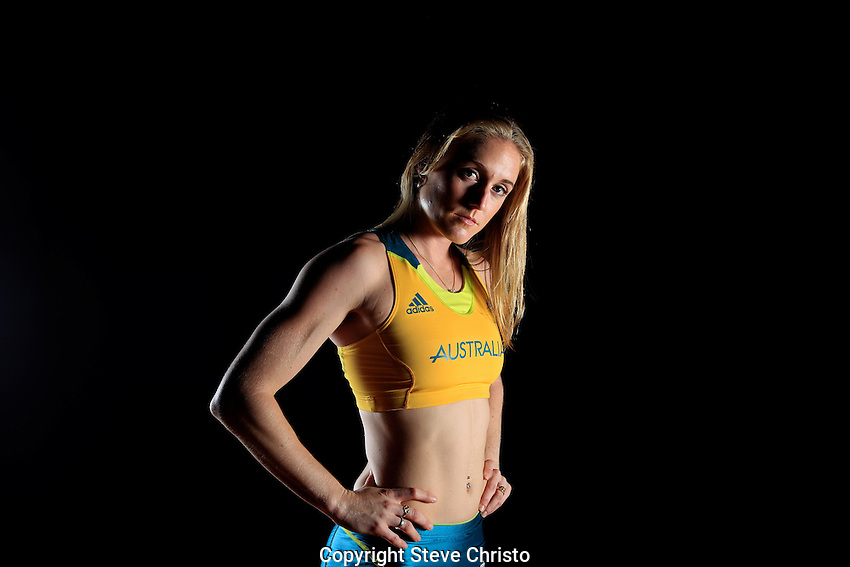 Australia's Olympic Kit unveiling at the State Sports Centre Homebush. Portrait of Hurdler Sally Pearson.  Wednesday March 28th 2012. (Photo: Steve Christo)