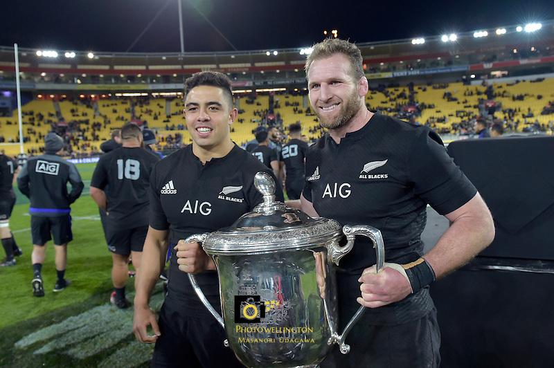 All Blacks' Kieran Read and Anton Lienert-Brown. All Blacks v Wallabies. The Rugby Championship &amp; Bledisloe Cup at Westpac Stadium, Wellington, New Zealand on Saturday 27 August 2016.<br /> Photo by Masanori Udagawa. <br /> www.photowellington.photoshelter.com.