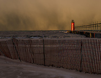 Snow front moving in across Lake Michigan one November morning making for a great backdrop for our awesome lighthouse.