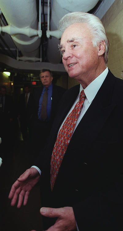 5/27/99.PULL THE RULE--House Appropriations Chairman C.W. Bill Young, R-Fla., talks to reporters as he leaves the GOP conference meeting after GOP leaders pulled the rule to govern debate on the defense authorization bill (HR1401) on the House floor..CONGRESSIONAL QUARTERLY PHOTO BY SCOTT J. FERRELL