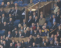 Former Queens Chairman Davie Rae wearing his usual yellow anorak watches on anxiously from the Directo's Box in the Rangers v Queen of the South Quarter Final match in the Ramsdens Cup played at Ibrox Stadium, Glasgow on 18.9.12.