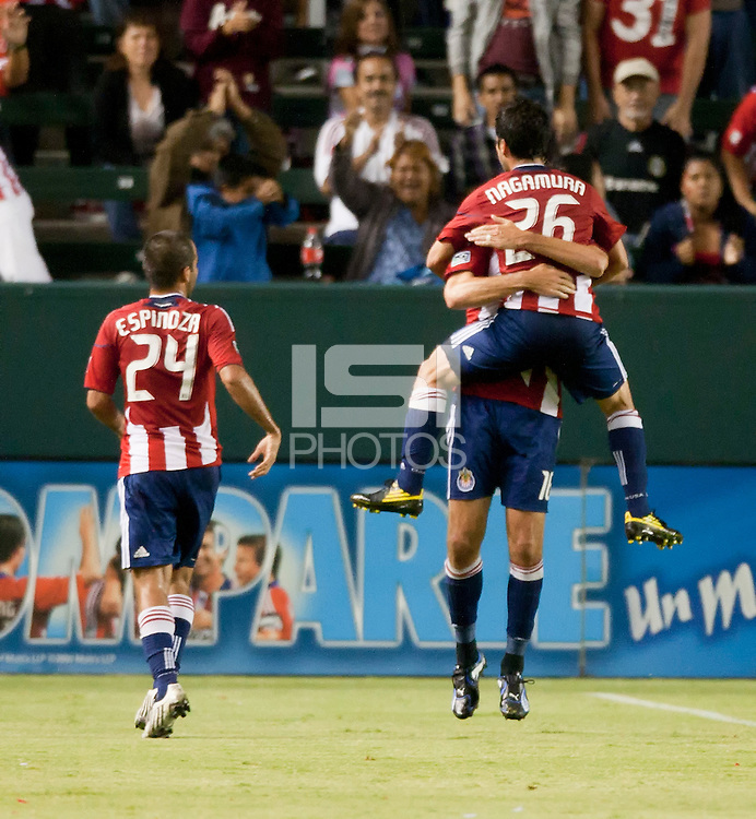 Chivas midfielder Paulo Nagamura (26) celebrates his goal during the first half of the game between Chivas USA and the New England Revolution at the Home Depot Center in Carson, CA, on September 10, 2010. Chivas USA 2, New England Revolution 0.