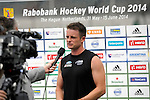 The Hague, Netherlands, June 03: Shea McAleese #25 of New Zealand gives an inteview on the field after the field hockey group match (Men - Group B) between South Africa and the Black Sticks of New Zealand on June 3, 2014 during the World Cup 2014 at GreenFields Stadium in The Hague, Netherlands. Final score 0:5 (0:3) (Photo by Dirk Markgraf / www.265-images.com) *** Local caption ***
