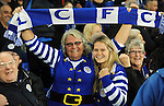 Leicester City fans celebrate at the end of the game<br /> - Barclays Premier League - Everton vs Leicester City - Goodison Park - Liverpool - England - 19th December 2015 - Pic Robin Parker/Sportimage