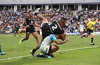 David Fusitua goes over the top of Phillip Sami to score a try.<br /> NRL Premiership. Vodafone Warriors v Gold Coast Titans. Mt Smart Stadium, Auckland, New Zealand. March 17 2018. &copy; Copyright photo: Andrew Cornaga / www.Photosport.nz