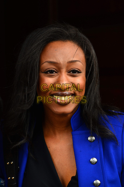 Beverley Knight.Stephen Lawrence memorial service marking the 20th anniversary of Doreen Lawrence's son's death, following a racially motivated attack. St Martin-in-the-Fields Church, Trafalgar Square, London, England..April 22nd, 2013.headshot portrait blue.CAP/BF.©Bob Fidgeon/Capital Pictures