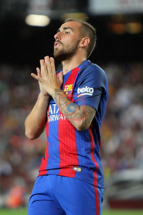 League Santander 2016/2017. Game: 3.<br /> FC Barcelona vs Deportivo Alaves: 1-2.<br /> Paco Alcacer.
