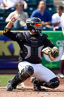 Chris O'Brien (22) of the Wichita State Shockers throws a ball back to the mound during a game against the Missouri State Bears on April 9, 2011 at Hammons Field in Springfield, Missouri.  Photo By David Welker/Four Seam Images