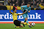 01.12.2018, Signal Iduna Park, Dortmund, GER, DFL, BL, Borussia Dortmund vs SC Freiburg, DFL regulations prohibit any use of photographs as image sequences and/or quasi-video<br /> <br /> im Bild v. li. im Zweikampf Achraf Hakimi (#5, Borussia Dortmund) Janik Haberer (#19, SC Freiburg) <br /> <br /> Foto © nordphoto/Mauelshagen