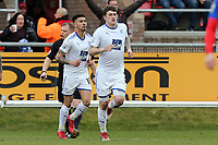 Andy Cook of Tranmere Rovers is congratulated after scoring the opening goal during Dagenham & Redbridge vs Tranmere Rovers, Vanarama National League Football at the Chigwell Construction Stadium on 10th March 2018