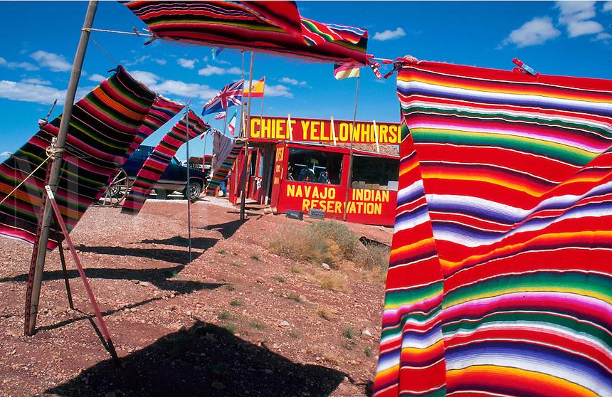 Navajo Indian rug vendor alongside Highway 64. Cameron, Arizona.