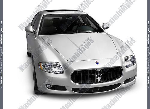 Silver 2009 Maserati Quattroporte S luxury sports sedan. Isolated car on white background with clipping path.