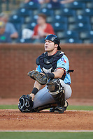 Hickory Crawdads catcher Matt Whatley (19) on defense against the Ocelotes de Greensboro at First National Bank Field on June 11, 2019 in Greensboro, North Carolina. The Crawdads defeated the Ocelotes 2-1. (Brian Westerholt/Four Seam Images)