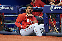 Boston Red Sox Yoan Moncada (22) during an instructional league game against the Tampa Bay Rays on September 24, 2015 at Tropicana Field in St Petersburg, Florida.  (Mike Janes/Four Seam Images)
