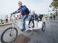 Picture by Allan McKenzie/SWpix.com - 24/09/2017 - Cycling - HSBC UK City Ride Liverpool - Albert Dock, Liverpool, England -  Lora & Neil Fachie on the rickshaw.
