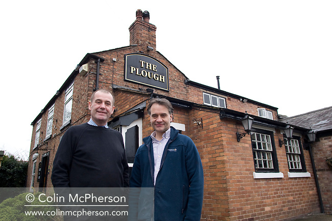 Business partners Phillip Harland and Raph Boydell outside The Plough Inn at Christleton near Chester, pictured as part of the Cheshire Food Trail. They bought it three years ago and have renovated it extensively. They grow their own herbs and vegetables on the premises and also rear pigs.