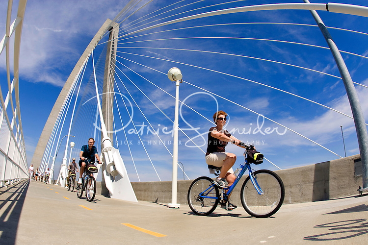 Bikers make their way across the Cooper River Bridge in Charleston, SC.