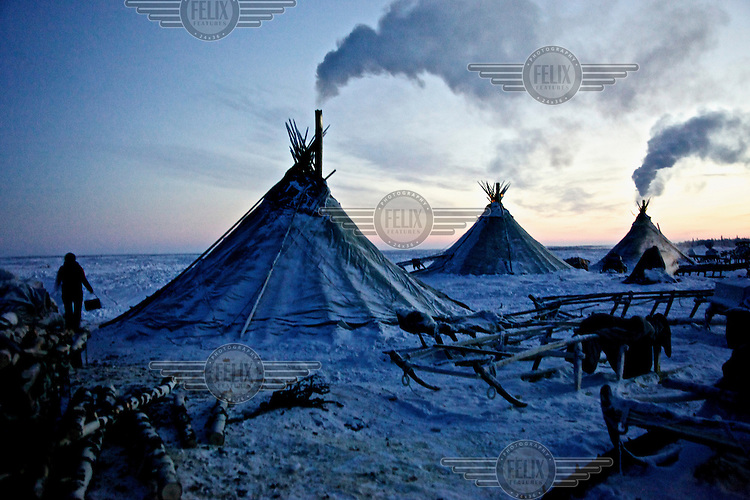 Nenets herder's 'chooms' or tents stand in Naryan-Mar in the Arctic tundra in the Russian far north. The Nenets are the original inhabitants in the Russian Arctic but have been displaced by both Soviet-era collectivisation and modern gas and oil exploration. Reindeer provide the Nenets with food, shelter and clothing. They sell reindeer meat to sausage factories and the antlers to China for use as traditional medicine. /Felix Features