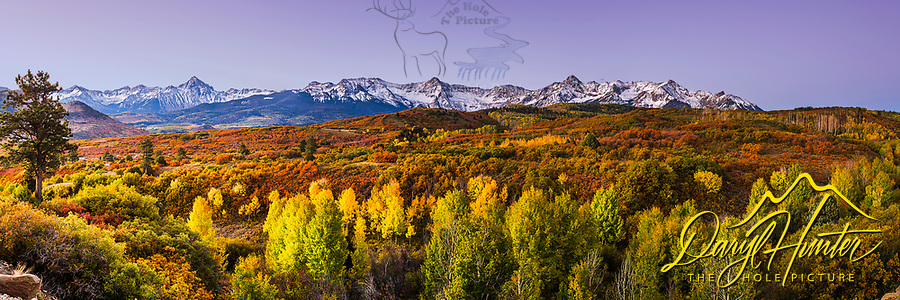 Sunrise panorama at Dallas Divide in the San Juan Mountains of Ridgeway Colorado.<br />