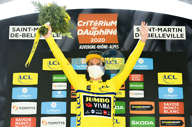 Race leader Primoz Roglic (SLO) Team Jumbo-Visma retains the Yellow Jersey at the end of Stage 3 of Criterium du Dauphine 2020, running 157km from Corenc to Saint-Martin-de-Belleville, France. 14th August 2020.<br /> Picture: ASO/Alex Broadway   Cyclefile<br /> All photos usage must carry mandatory copyright credit (© Cyclefile   ASO/Alex Broadway)