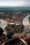 Malaysia, Melaka, Malacca, State of Melaka, Southeast Asia, Aerial view, village, river oxbow,.
