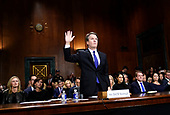Supreme court nominee Brett Kavanaugh is sworn in to testify before the Senate Judiciary Committee on Capitol Hill in Washington, Thursday, Sept. 27, 2018. (AP Photo/Andrew Harnik, Pool)