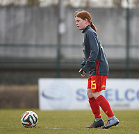 20180314 - TUBIZE , BELGIUM : Belgian Lauren Meyers pictured during the friendly female soccer match between Women under 15 teams of  Belgium and Gemany , in Tubize , Belgium . Wednesday 14 th March 2018 . PHOTO SPORTPIX.BE / DIRK VUYLSTEKE