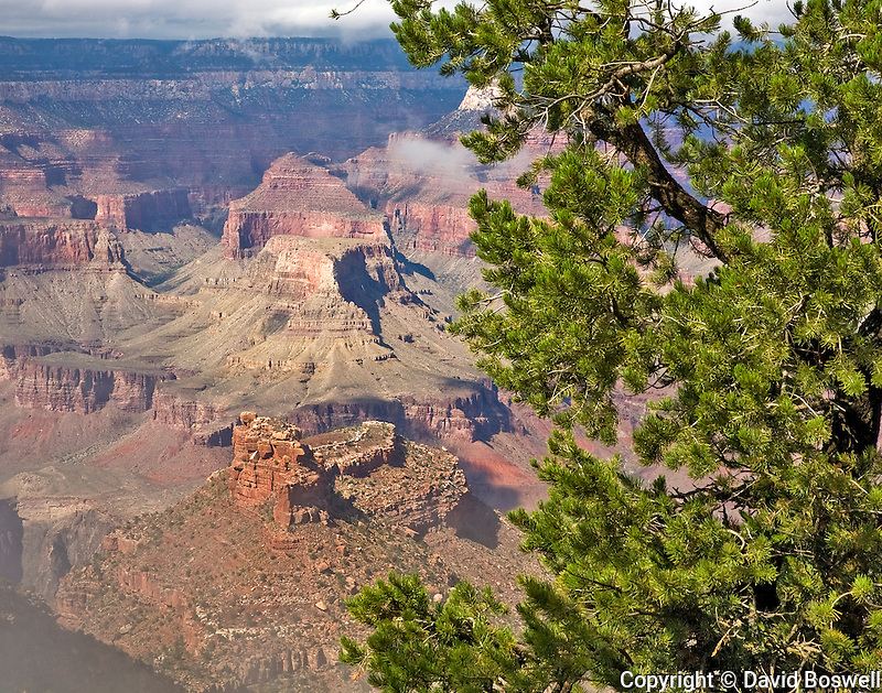 The Grand Canyon, seen from the South Rim near the Bright Angel Trail.