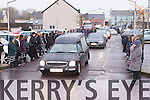 The hearse carrying Catriona Dowling arrives at St Peter and Paul's church Ballyduff for her funeral on Wednesday with a guard of honour from her students in the Presentation