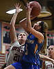 Alyssa Yablansky #5 of East Meadow shoots a contested jumper from short range during during a non-league girls basketball game against host South Side High School in Rockville Centre on Tuesday, Nov. 27, 2018. South Side won by a score of 68-29.