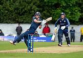Issued by Cricket Scotland - Scotland V Sri Lanka 2nd One Day International at Grange CC, Edinburgh - Scotlands Matthew Cross (batting with George Munsey) swings on the crease, shortly before the rain delay, after bringing up his 2nd ODI 50 - picture by Donald MacLeod - 21.05.19 - 07702 319 738 - clanmacleod@btinternet.com - www.donald-macleod.com