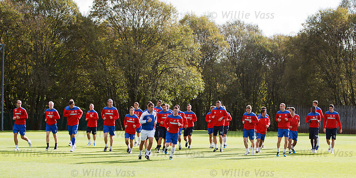 Rangers players enjoying a fine autumnal day out at Murray Park