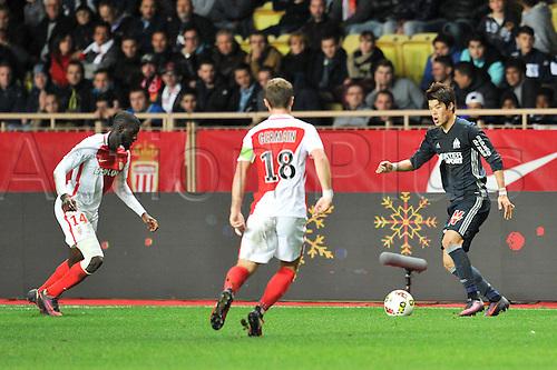 26.11.2016. Monaco, France. French League 1 football. Monaco versus Marseille.  14 TIEMOUE BAKAYOKO (asm) takes on Hiroki SAKAI (om)