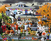 Lori, STILL LIFE STILLEBEN, NATURALEZA MORTA, paintings+++++Halloween At The House_6_72,USLS21,#I#, EVERYDAY ,puzzles ,collage