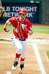 Washington Nationals outfielder Bryce Harper (34) runs towards first base during a game against the Miami Marlins at Nationals Park in Washington, DC on September 8, 2012.
