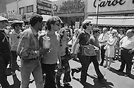 28 Jun 1970, Manhattan, New York City, New York State, USA. Participants in New York's first Gay Pride parade begin their march at Christopher Street and Sixth Avenue in Greenwich Village.