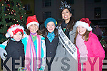 SURPRISE: Ciara McCarthy got a surprise as The Rose of Tralee gave her a big hug on Her Birthday in the Square Tralee on Saturday after she switched on bthe Christmas Lights. L-r: Tabita Kolsarova, Meagan Sheehy, Ciara McCarthy, Rose of Tralee and Emma Lonergan.............................. ..........