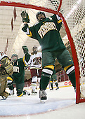 Chelsea Furlani (Vermont - 10), Brittany Nelson (Vermont - 16) - The University of Vermont Catamounts defeated the Boston College Eagles 5-1 on Saturday, November 7, 2009, at Conte Forum in Chestnut Hill, Massachusetts.